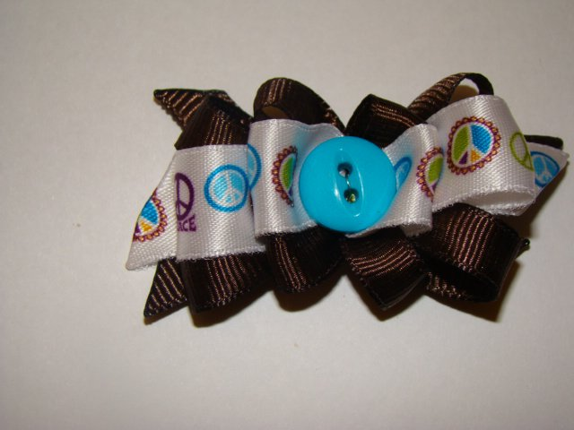 Dog Bow Peace & Love Brown & Blue